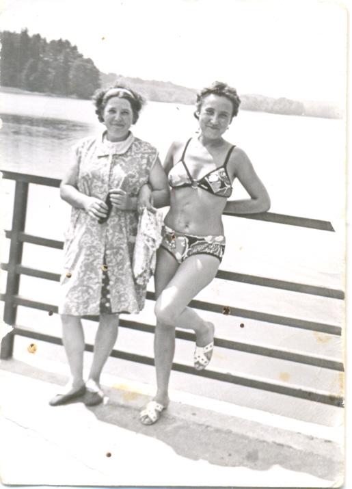 Gertruda Kalińska i Pani Pawlicka z prawej, lata 70
